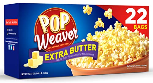 Pop Weaver Microwave Popcorn, Extra Butter, 22 Bags per Box