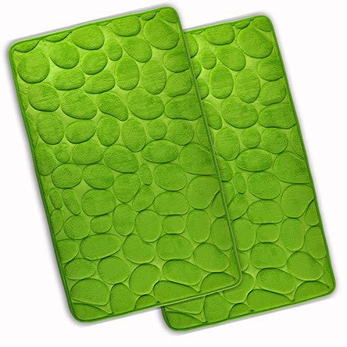WohnDirect Set 2 teilig Badezimmerteppich mit Memory Foam - Rutschfester Badteppich - Badematte waschbar & schnelltrocknend – auch ideal als Duschvorleger – Badvorleger 50 x 80 cm - Grün