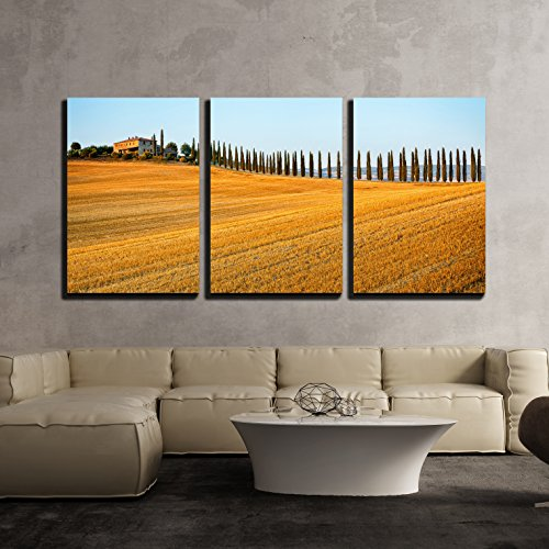 """wall26 - 3 Piece Canvas Wall Art - Rural Countryside Landscape in Tuscany Region of Italy - Modern Home Decor Stretched and Framed Ready to Hang - 24""""x36""""x3 Panels"""