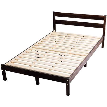 アイリスプラザ ベッド ベッドフレーム ダブル おしゃれ パイン材ベッドフレーム ブラウン ダブルベッド PWBX-DBN