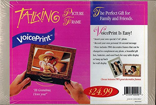 VoicePrint Talking Picture Frame (for 4 x 6 photo) w/ 2 interchangeable frames