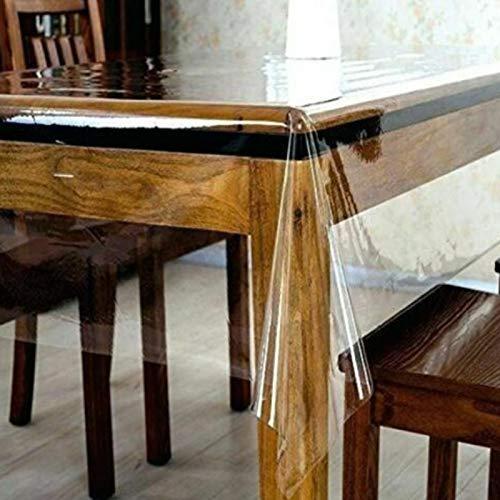 Protector de mesa transparente, rectangular, suave, impermeable, fácil de limpiar, para comedor, hogar, PVC, superficie de muebles, para escritorios, mesa de café, encimera (tamaño: 140 x 183 cm)