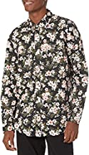 Amazon Brand - Goodthreads Men's Standard-Fit Long-Sleeve Poplin Shirt, black wallpaper floral print, Large