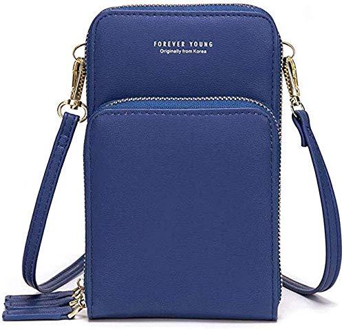 Frauen leichte Leder Anti-Diebstahl verstellbare Lange Riemen Telefon Brieftasche Cross-Over-Mini-Umhängetasche 3 Reißverschluss Handtaschen Handytasche mit Riemen Kartenschlitze(blau)