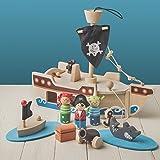 Tobar Barco pirata de madera con ancla y vela (32 cm de largo, 10 piezas)