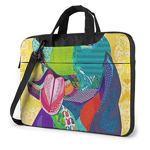 Pitbull Dog Art Laptop Sleeve Case 15.6 Inch Computer Tote Bag Shoulder Messenger Briefcase