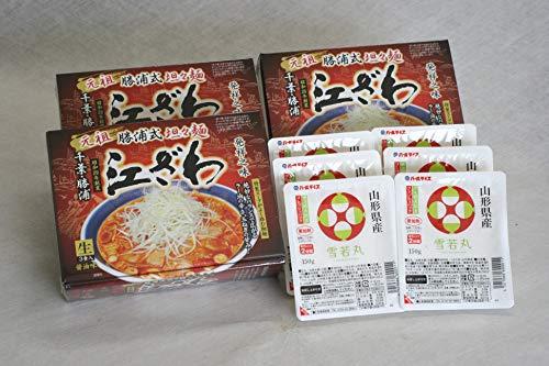ラ−メンライス 人気有名ラーメンと山形雪若丸 江ざわ「元祖勝浦式坦坦麺」9食と雪若丸150g×6食