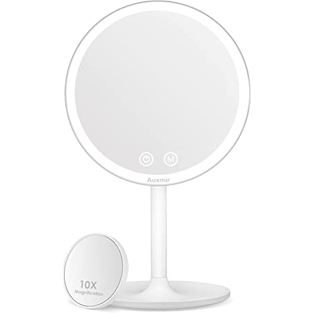 Auxmir Makeup Mirror with Light, Illuminated LED Mirror with 3 Modes, Rotation Mirror on Stand with Attached 10X Magnifying Mirror for Making up, Shaving, Vanity, Dressing Table, White