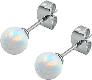 ZeSen Jewelry Splendida opale di fuoco sfera Orecchino 316l acciaio chirurgico Helix Conch Cartilagine Orecchini
