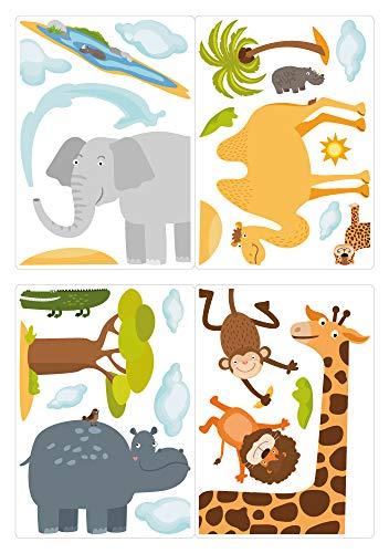 dekodino® Fenstersticker Kinderzimmer Safari Löwe Giraffe Elefant