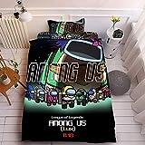 YOMOCO Among UsBedding Setunter Uns Juego de funda de edredón y 2 fundas de almohada, microfibra, impresión digital 3D (E6,140 x 210 cm + 50 x 75 cm x 2)