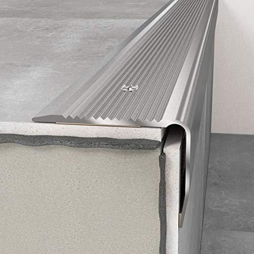 Treppenprofil 40 x 30 x 1200 mm Silber mit Antirutschprofil | Treppenkante Aluminium | Aluminiumprofil | Winkel | Treppenwinkel
