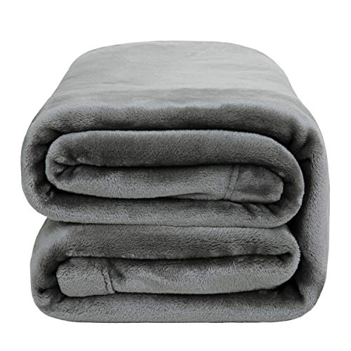 Bedsure Fleece Blanket Throw Size 350GSM - Soft Blankets for Bed All Season,50x60 Inches Grey