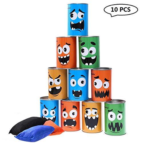iBaseToy Dosenwerfen Spiele für Draußen - Kindergeburtstag kinderparty Spiele mit 10 Dosen mit Verschiedenen Motiven und 3 Wurfsäckchen