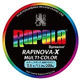 Rapala(ラパラ) PEライン ラピノヴァX マルチカラー 200m 0.6号 13.9lb 4本編み 10m毎に5色分け RXC200M06MC