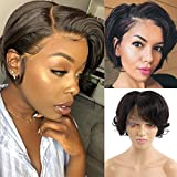 Short Bob Wigs for Black Women Loose Wave Human Hair T Part Wigs 6 inch MSGEM Brazilian Lace Front Wig Human Hair Pre plucked Pixie Cut Hair Wig 150% Density