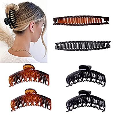 Plastic Hair Claw Banana Clips,Big Hair Claw Clips, Large Hair Claw Clips,Banana Hair Clips, Big Claw Clips,Claw clip,Large Hair Clips ,6 Pieces Clincher Combs Banana Combs Clip, Banana Hair Claws Clip for Women Girls New YearFor Valentine's Day from Zucp