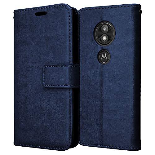 TECHGEAR Leder Hülle kompatibel mit Motorola Moto E5 Play - PU Leder Flip Hülle Schutzhülle Ledertasche [Brieftasche] Handyhülle mit Ständer & Handschlaufe Beutel Hülle - Blau