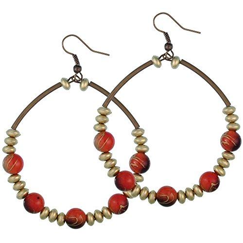 Chic-Net latón oro Color naranja y negro pendientes de perlas grandes cobre señoras pendientes joyas sin níquel