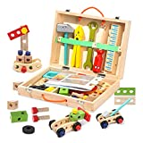 DRESSPLUS Tool Set for Toddlers, Wooden Simulation Toolbox Kit , Creative DIY Educational Construction Kids Toy, Gift for Toddlers 3 Year Old and Up Boys Girls