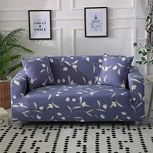 weichuang Funda de sofá elástica para sofá, funda de sofá o sillón, funda de licra para sala de estar, esquina en forma de L, 1 funda de sofá (color: azul oscuro, gris, especificación: individual)