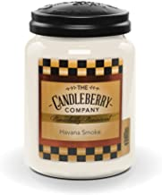 Candleberry Havana Smoke, Premium Fine Fragrance Candle The Home, Large Glass Jar, 26 oz
