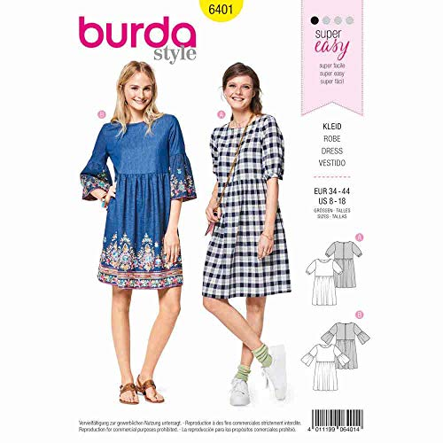 Burda 6401 Schnittmuster Kleid (Damen, Gr. 34-44) Level 1 super Easy
