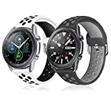 YPSNH Bands for Samsung Galaxy Watch 3 45mm, 22mm Quick Release Replacement Wristband Sport Breathable Strap for Galaxy Watch 46mm/Gear S3 (B/G+W/B, 22mm)