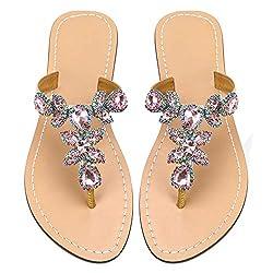Pink Rhinestone Flat Flip Flop Sandal