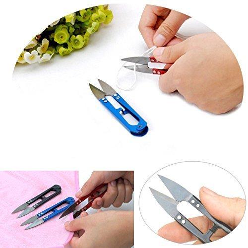 Shells 5PCS All Metal Scissor Sharp Beading Thread Cutter Fishing Line U Sewing Scissors (3 X Black)