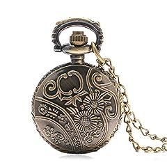Vintage Chain Pocket Watch, Bronze Sun Flower Retro Roman Numerals Quartz Fob Pocket Watch With Necklace Chain Gift #5