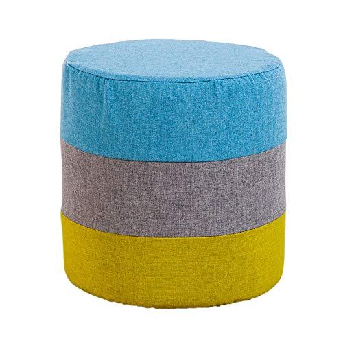 Repose-Pieds Hit Color Stitching Sofa Tabouret Tabouret en Laiton Rond Chaussure Banc Chambre Dressing Tabouret À Carreaux Bas Tabouret 28 × 27 cm GW (Couleur : Bleu)