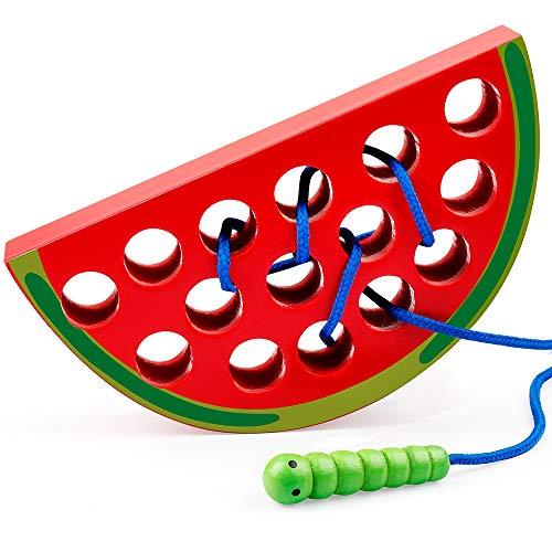 Coogam Holz Wassermelone Einfädeln Spielzeug Holzblock Puzzle Reise Spiel Frühes Lernen Feinmotorik Montessori Pädagogisches Geschenk für 1 2 3 Jahre alte Kleinkinder Baby Kinder