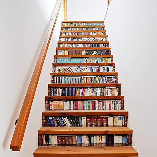 qingmo Simulation Bücherregal Flip Kreative Wandaufkleber Selbstklebend 3D Home Treppen Aufkleber