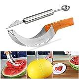 OUNONA Wassermelonen Messer Edelstah und Doppelzweck Melonenausstecher(Orange)