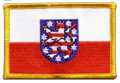 Flaggenfritze Flaggen Aufnäher Deutschland Thüringen Fahne Patch + gratis Aufkleber