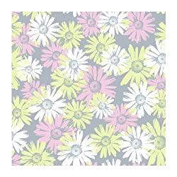 York Wallcoverings BT2737 Daisy Camo Wallpaper, Platinum SilverCotton Candy PinkCelery Green
