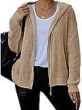 PDYLZWZY Chaqueta de punto con capucha para mujer, cuello en V, manga larga, con cordón de ajuste ligero, albaricoque, S