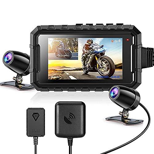 YINHA Cámara Dash De La Motocicleta De 3.0 Pulgadas con Lente Doble Impermeable De 1080p, 150 ° Ancho, WiFi, GPS, Sensor G, Control Cableado, Grabación De Bucle, Impermeable Impermeable, Máximo 256 G