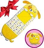 beautgreen Almohada y saco de dormir para niños, 2 en 1, almohada para siesta, divertido saco de dormir sorpresa, cachorro amarillo (3-6 años)