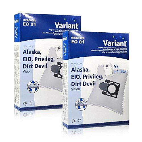 2x Variant EO01 Microvlies Staubsaugerbeutel + Microfilter für Alaska, Privileg, Dirt Devil