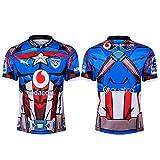 JUNBABY Maillot De Rugby Bulls,Super Héros Édition T-Shirt de Rugby, Maillot De Football Blue Bulls Homme-Blue-XXXL