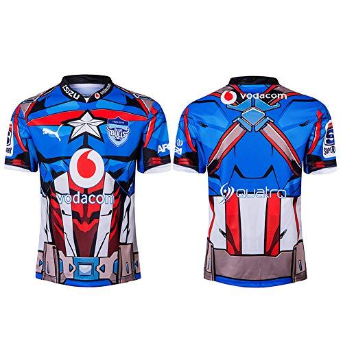 JUNBABY Bulls Rugby Trikot, Super Hero Edition Rugby T-Shirt, Blue Bulls Fußballtrikot für Herren-Blue-XXL