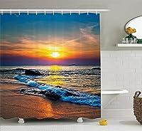 AFDSJJDK カーテン 海の波の上の日のカラフルな最後の太陽熱帯反射バスルームシャワーカーテンオレンジアイボリーブルー
