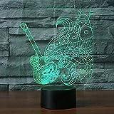Luz de noche 3D modelo de guitarra eléctrica ilusión luz 3D LED 7 cambio de color sensor táctil USB luz de ambiente luz de noche