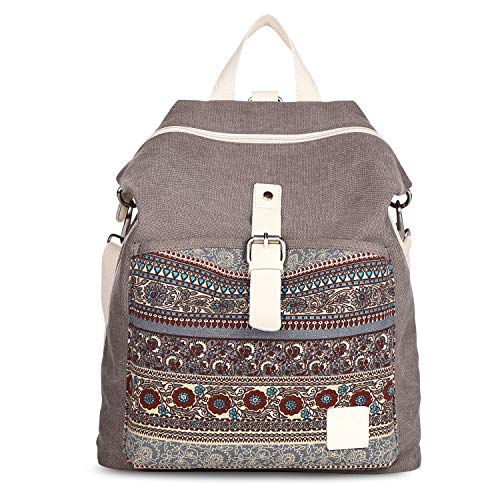 SIVENKE Damen Rucksack Canvas Frauen Schultertasche Umhängetasche Groß Laptop Bag Backpack Daypack für Schule Uni Reisen Schulrucksack für Damen Mädchen