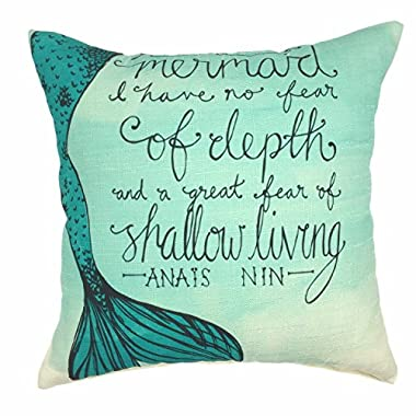 YOUR SMILE Mermaid Cotton Linen Decorative Throw Pillow Case Cushion Cover Pillowcase for Sofa 18 x 18 Inch,Teal
