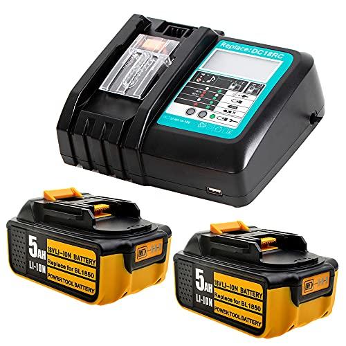 2X Sostituzione per Batteria Makita 5Ah 18Volt Compatibile con Caricabatterie DC18RC Compatibile con Makita Radio DMR107 DMR 108 DMR110 DMR 112 DMR106 Batteria BL1850 BL1840 BL1830 BL1450