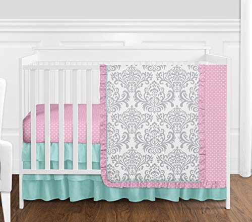 Boutique Skylar Turquoise Blue Pink Polka Dot and Gray Damask Girls Baby Bedding 4 Piece Crib Set
