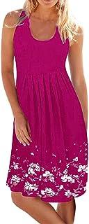 iNoDoZ Women's Summer Sleeveless Floral Print Evening Party Beach Short Dress